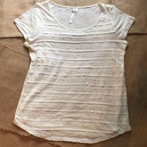 LC Lauren Conrad Chiffon Lace Mesh T-Shirt Size L